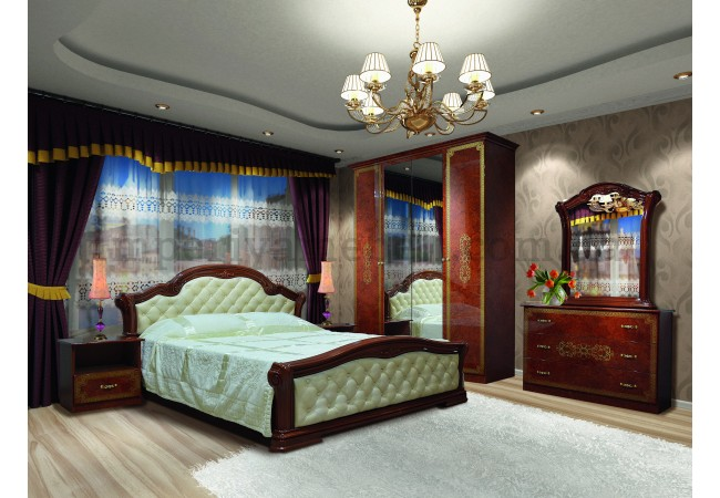 На фото Спальня Венеция Нова пино орех